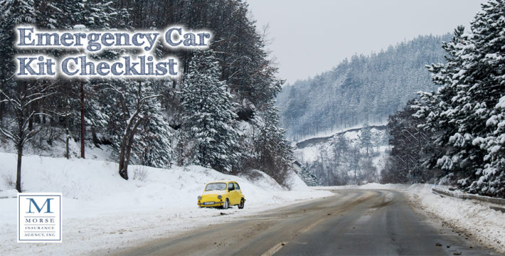 A photo of a car on the side of the road during Winter